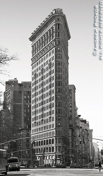 famous architectural buildings black and white. View Of The Flatiron Building From Fifth Avenue II - Http://andrewprokos.com/photos/black-and-white/ Famous Architectural Buildings Black And White T
