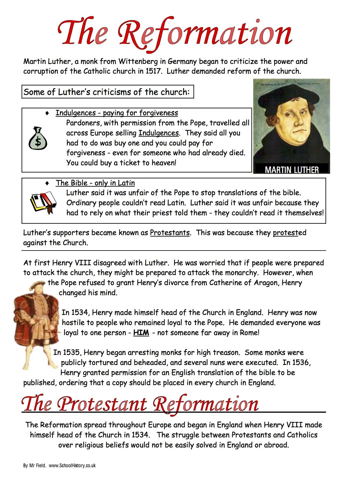 English Reformation Worksheets Ks3 Ks4 Lesson Resources With