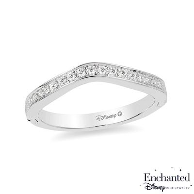 Enchanted Disney Princess 1 5 Ct T W Diamond Contour Wedding Band In 14k White Gold Zales Disney Engagement Rings Disney Ring Collection Disney Wedding Rings