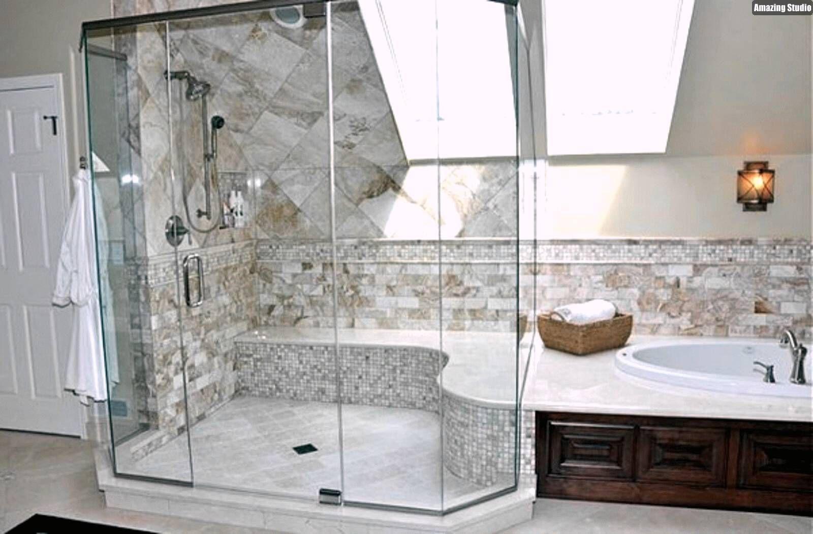 ideen badezimmer mit dachschräge beige marmorfliesen
