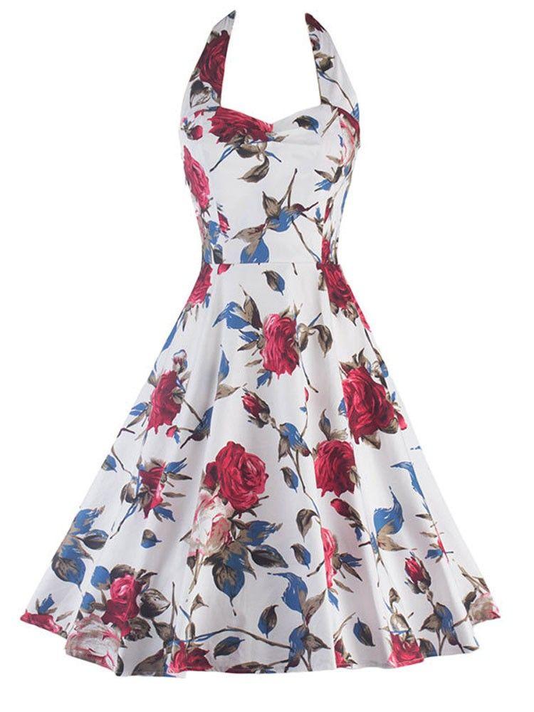cd8da280703 White Flowers Printed Vintage Audrey Hepburn Style Dress 50s Style  Sleeveless Swing Straps Dress