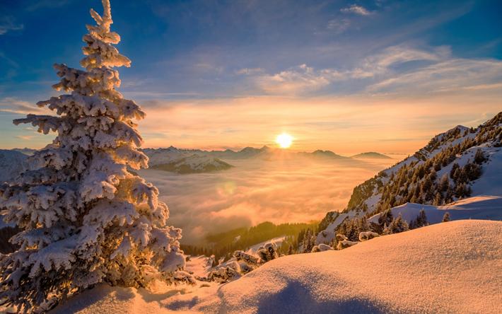 Download Wallpapers Winter Landscape Mountains Sunset Clouds From Above Mountain Landscape Snow Winter Paisagem De Montanha Paisagem De Inverno Ideias De Paisagismo