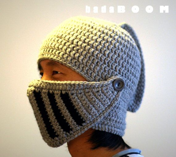 Knight Hat Crocheted Knight Helmet movable mouth cover role play ski ...