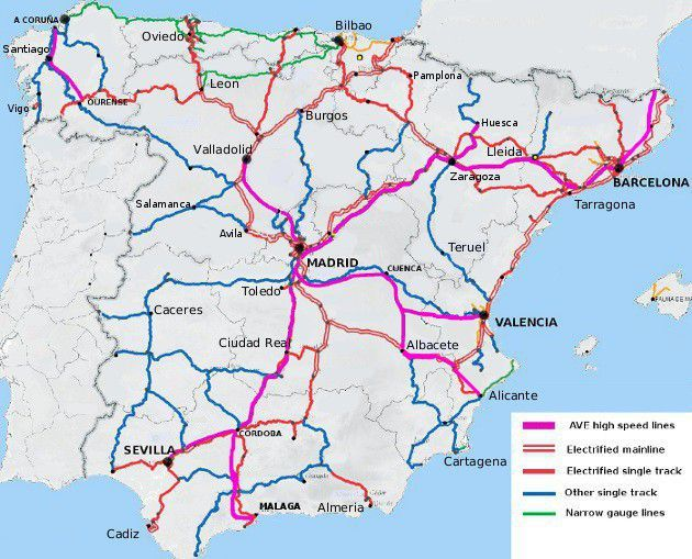 Printable Map Of Spain.Rail Map Of Spain Spain In 2019 Map Of Spain Train Route Spain
