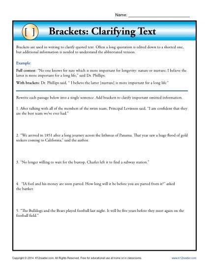 Brackets Clarifying Text Punctuation Worksheets Punctuation Worksheets How To Memorize Things Explanatory Writing Osmosis jones worksheet answer key