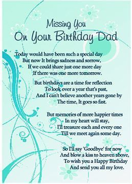 Birthday Remembrance Mum Dad Graveside Memorial Card