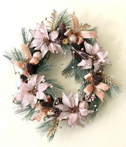 Rose gold elegant christmas wreath pine cone Christmas front decor christmas wre