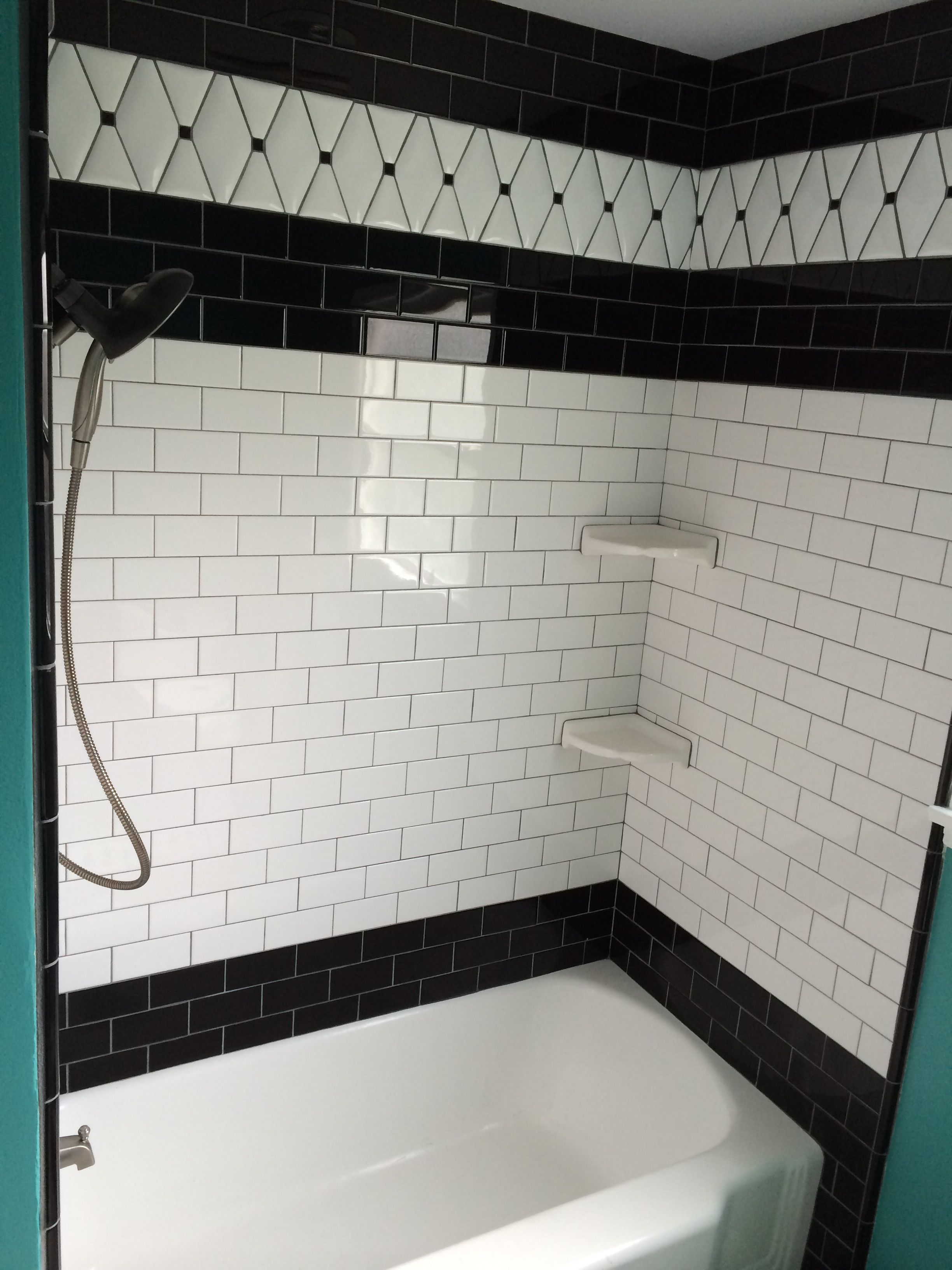 Black And White Subway Tile Black Bullnose Trim And White Pillow Tile From Tile Expo In Anaheim Grout White Subway Tile Shower White Subway Tile Subway Tile