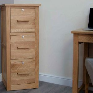 Small Wooden Lockable Filing Cabinet