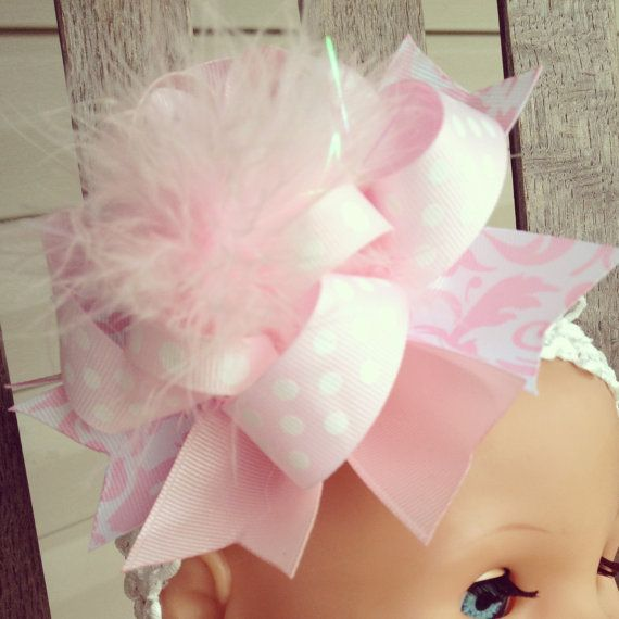 Light Pink Over the Top Boutique Hair Bow by OverTheTopBOWtique