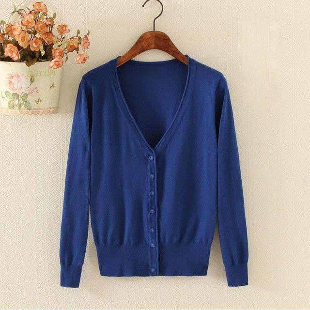 Buy Spring Autumn Female New Cashmere Cardigan V-Neck Knit Shirt ...