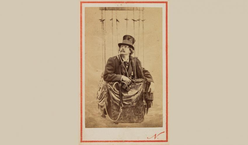 Self Portrait Posed In A Balloon Basket Nadar 1862 Albumen Print Carte