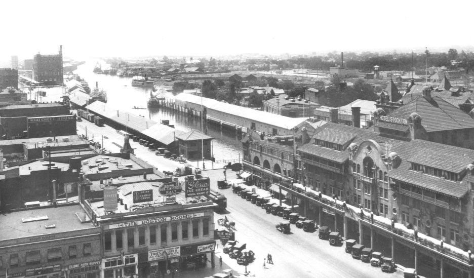 Downtown Stockton California Waterfront And Hotel View From Courthouse Early 1900 S