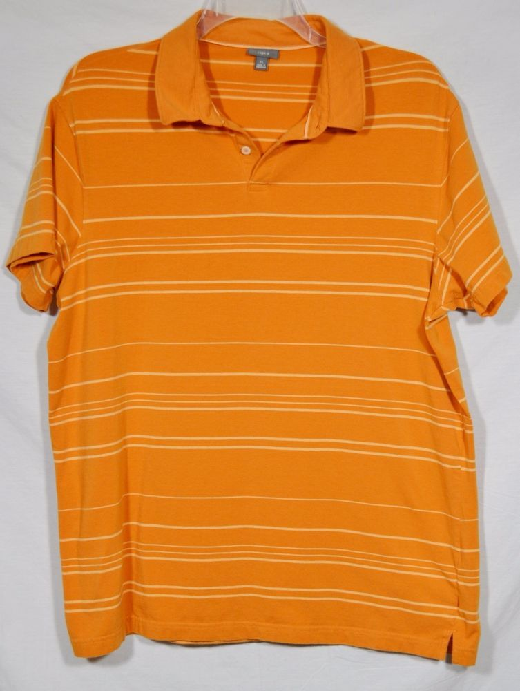 APT. 9 Mens Orange Striped Polo Shirt XL Stretch Cotton Short Sleeves Summer #Apt9 #PoloRugby