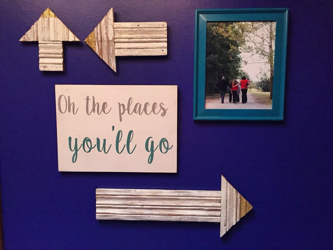Our oh the places youull go entry wall arrows custom sign family