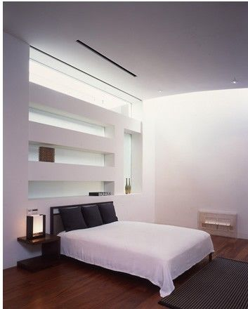 Above The Bed Niches And Open Space Modern Bedroom Design