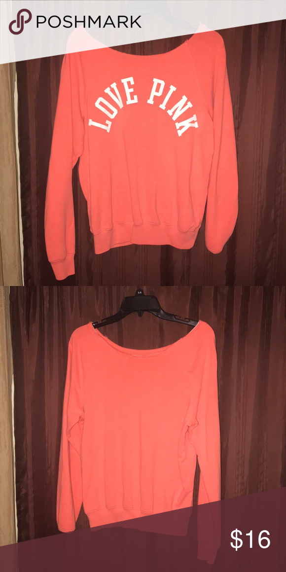 5702998d5dcdef Pink shirt Peach Victoria s Secret pink long sleeve off the shoulder top  Size is XS fits as M PINK Victoria s Secret Tops