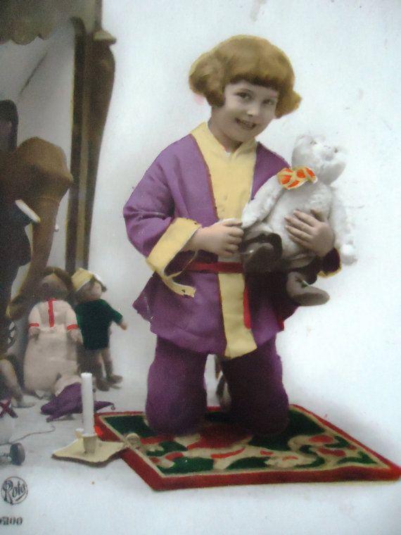 Antique french postcard  Little girl bear doll by LizKnijnenburg, €4.10