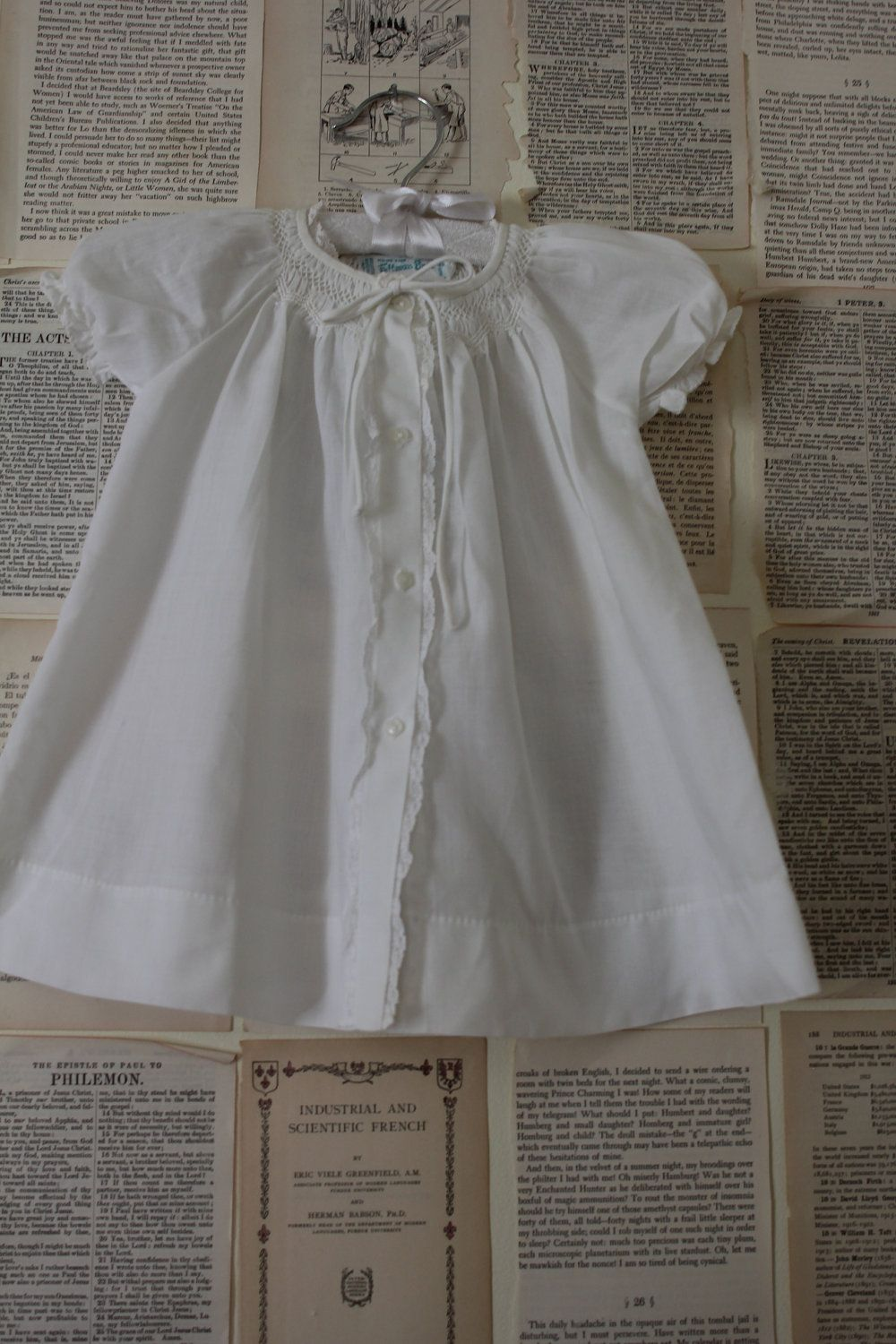 Vintage White Baby Christening Gown - 1950' Retro Infant