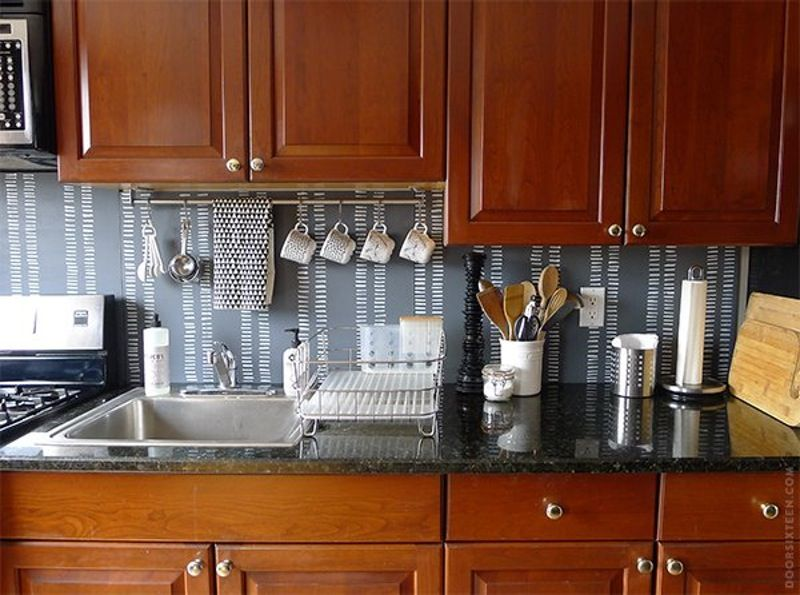 15 Ideas for Removable, DIY Kitchen Backsplashes Kitchen