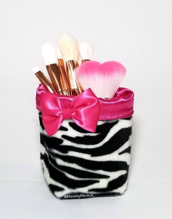 e4a94333714 Foldable Zebra print makeup brush pen holder short fur fabric cup. Travel.  Pink Office pencil craft