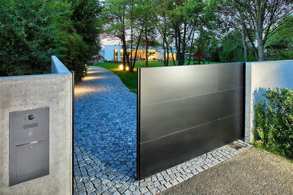 Schön Eingangsüberdachung L Form Galerie Von Schiebetor — Zaunzar