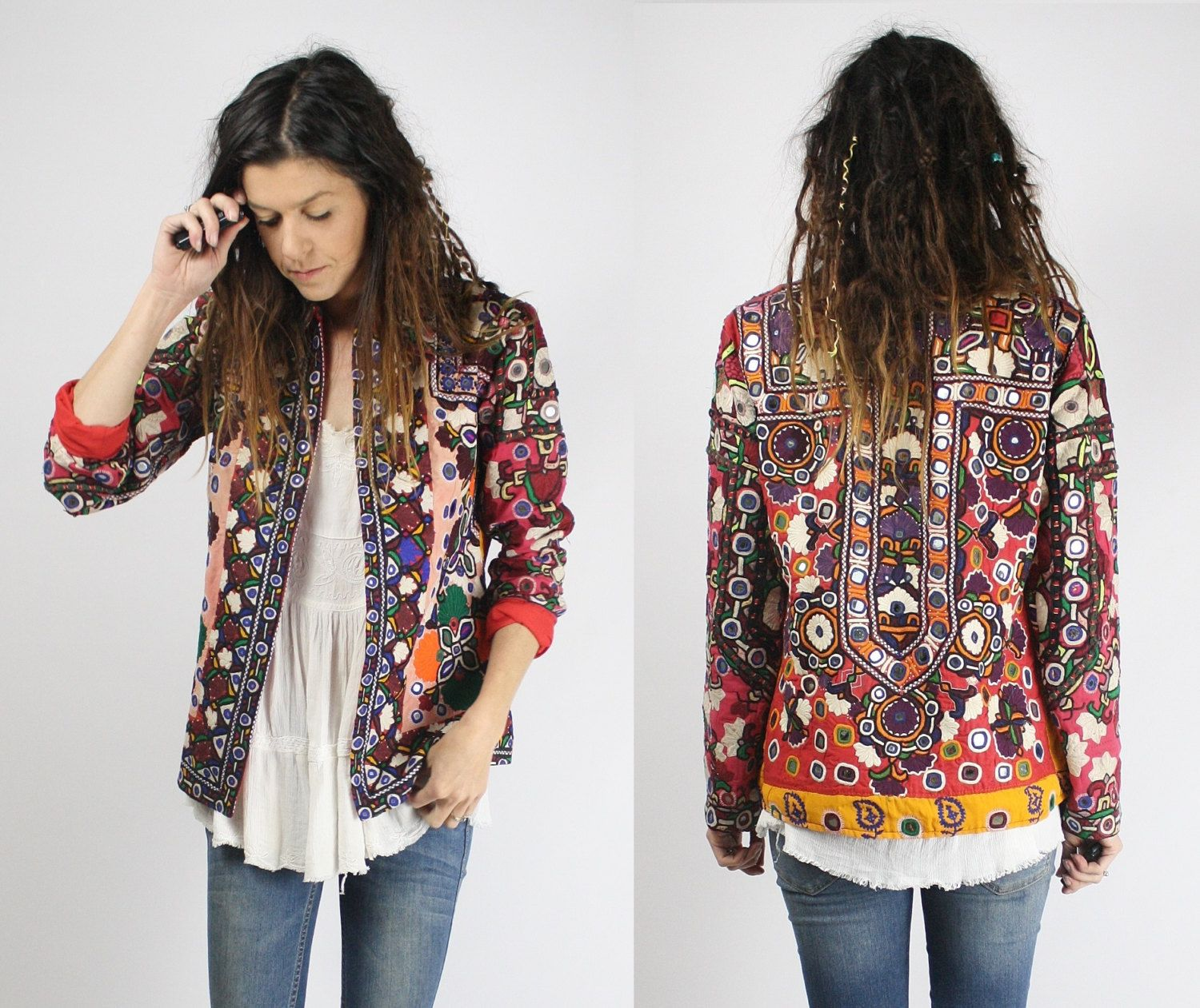 6bcae3f0 GYPSY JACKET Vintage boho jacket Bohemian Mirror embroidery Traditional  Banjara Native Tribal Ethnic Indian Festival OOAK S (265.00 AUD) by  renewvintage