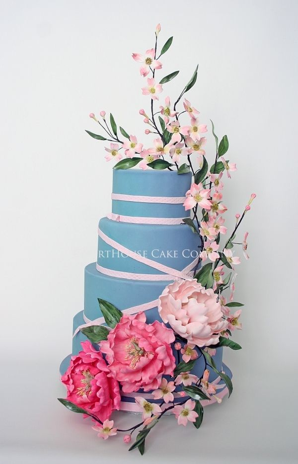 Blue cake with Peonies and Pink Dogwoods