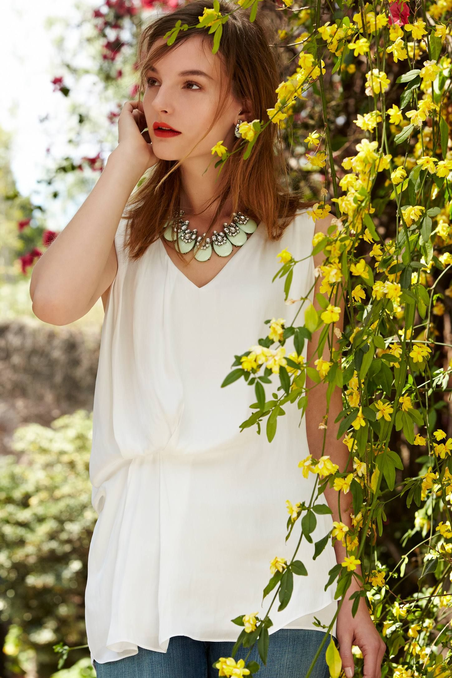 Lokoya Tucked Tunic and gorgeous necklace anthropologie.com