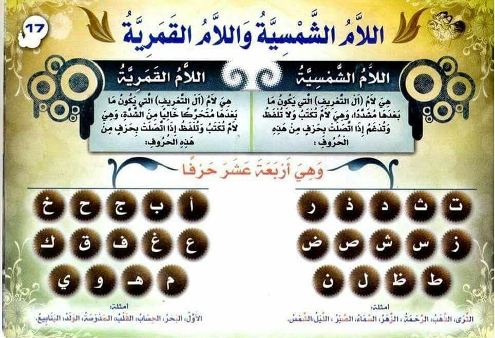 قواعد اللغة العربية للمبتدئين اللام الشمسية واللام القمرية Learn Arabic Language Teach Arabic Arabic Handwriting