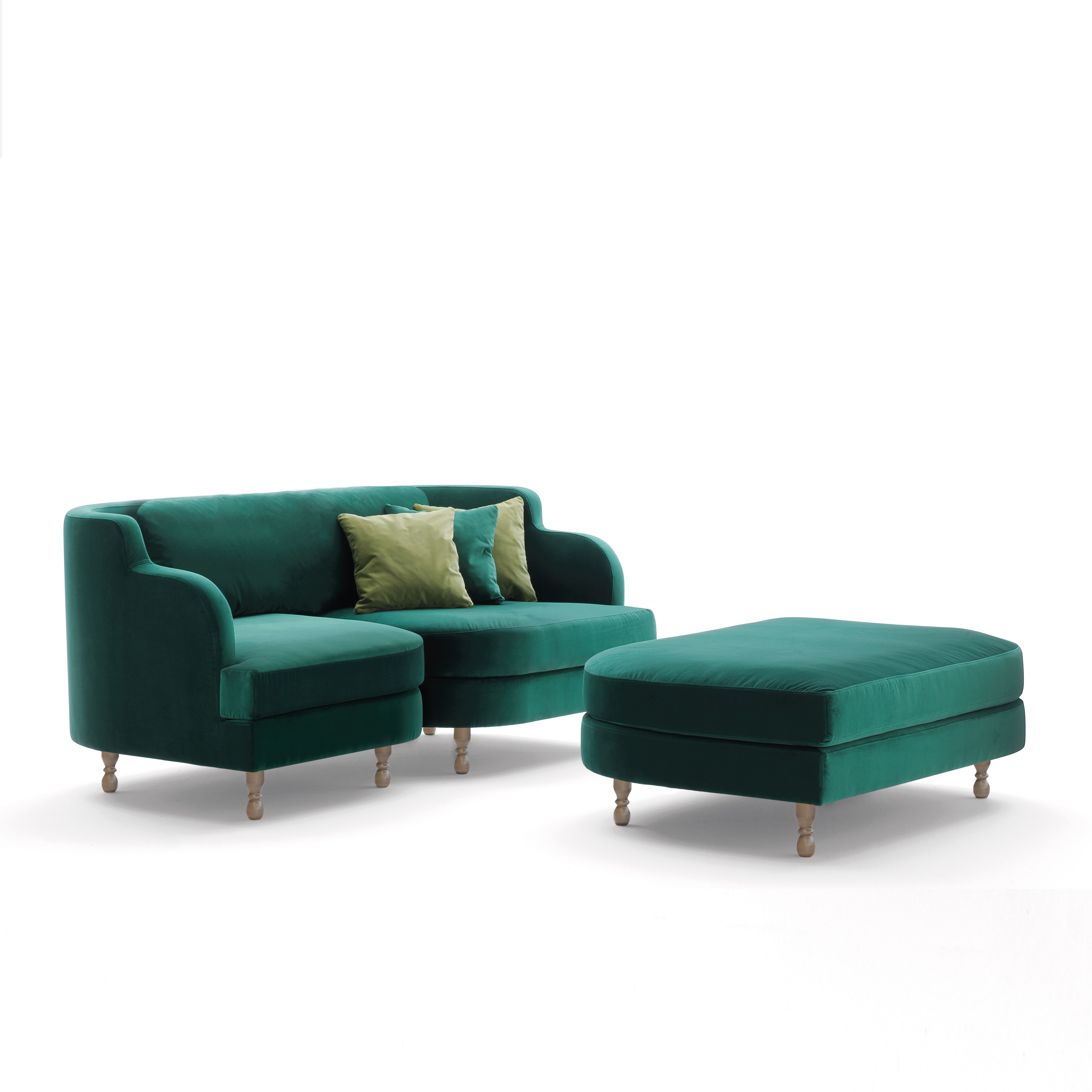 Délice From Sandler Seating In Green Upholstered Sofas Ottomans And Tables With Solid Beech Wood Legs