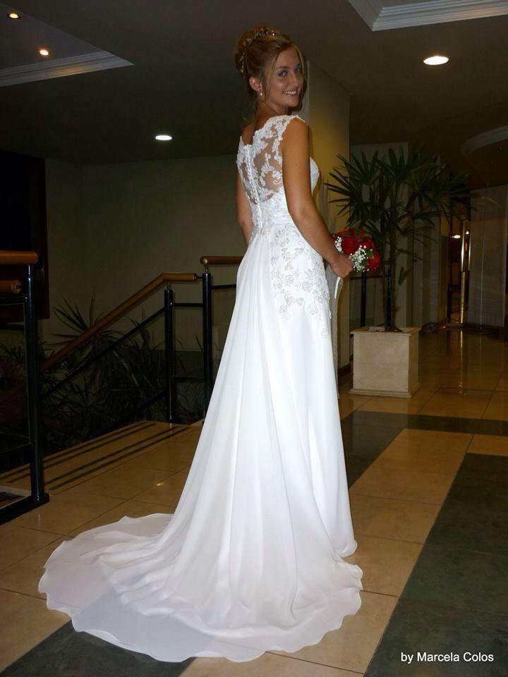 vestido de muselina y tul bordado. wedding dressmarcela colos