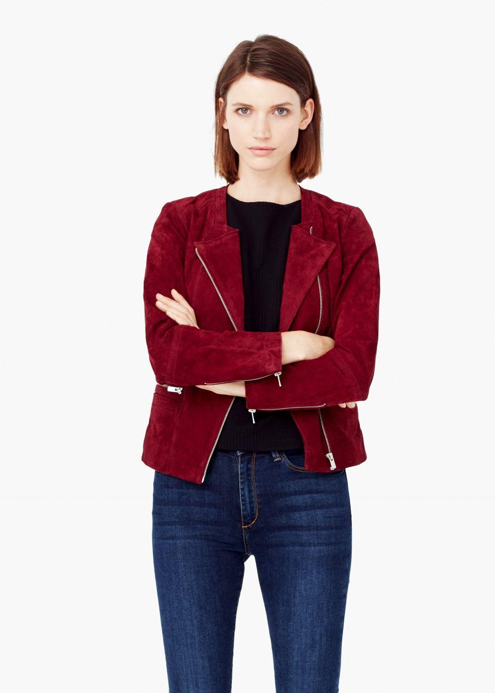 Zipped suede jacket - Jackets for Women | MANGO | jackets, coats ...