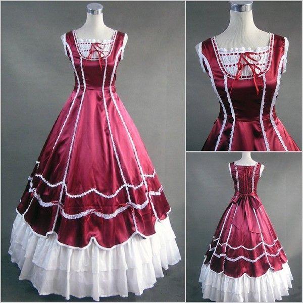 Custom Victorian Corset Ruffles Dress Gothic/Civil War Ball Gown ...