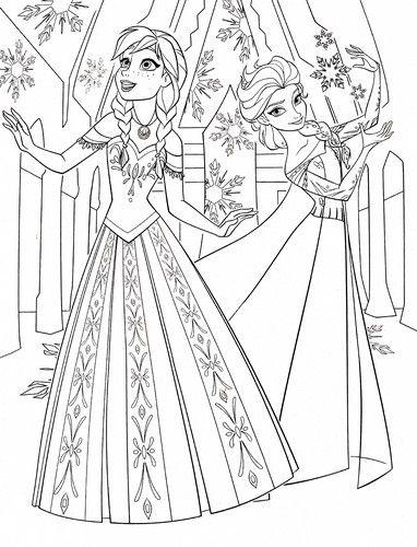 Walt Disney Coloring Pages Princess Anna Queen Elsa Wallpaper HD