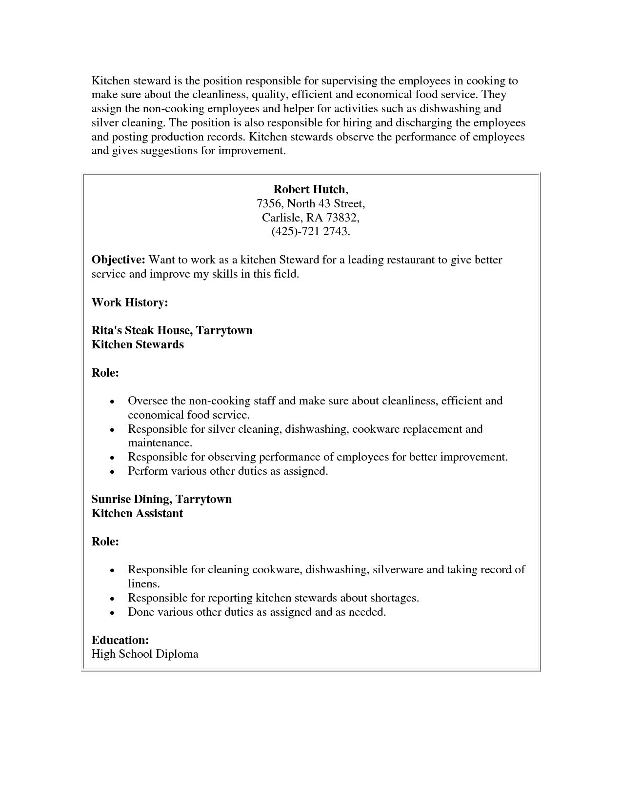 Resume Examples Kitchen Helper | Pinterest | Resume examples ...