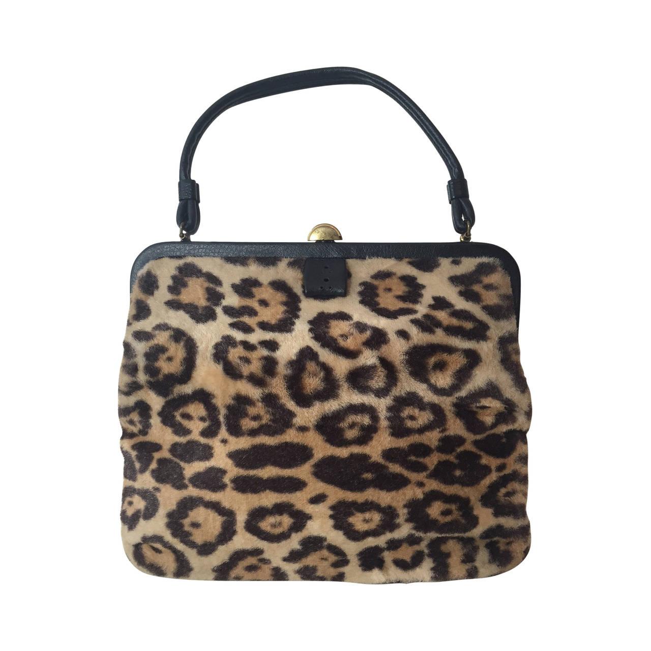 1stdibs 1950s Faux Leopard Fur Handbag cU4CyYyZ