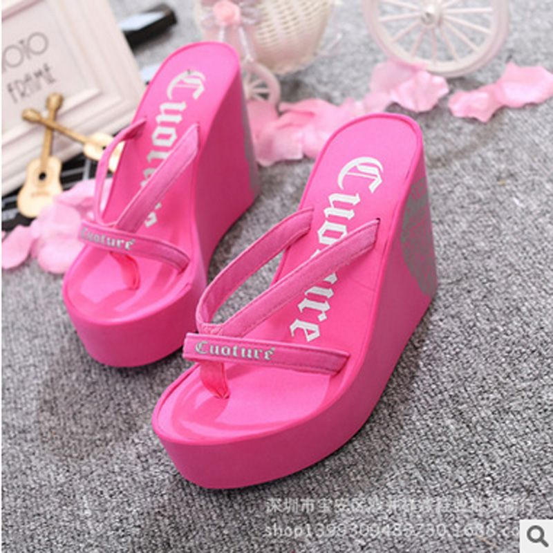 c89625a44e616 Fashion Summer 11cm High Heels Women Rubber Flip Flops Female Platform  Wedges Slippers Girl s Beach Sandals zapatillas mujer