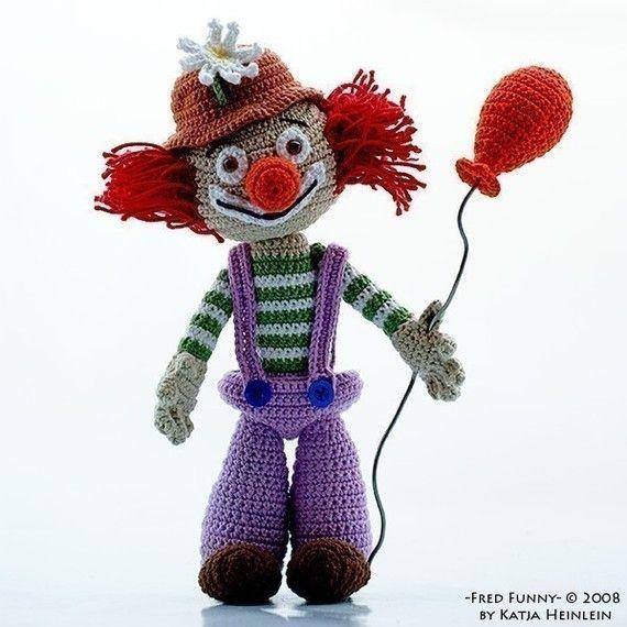 Clown Fred Funny, amigurimi pdf pattern figure circus by Katja ...