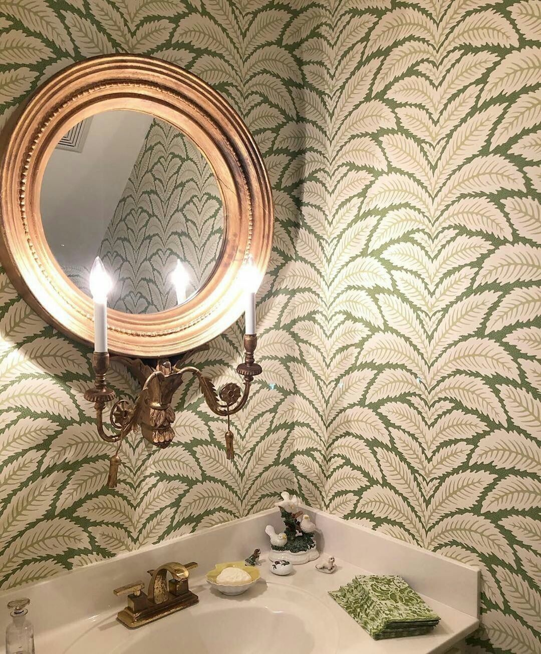 Create This Botanical And Luxurious Look With The Talavera Wallpaper From Brunschwig Fils Wallcov Talavera Wallpaper Wallpaper Stores Round Mirror Bathroom