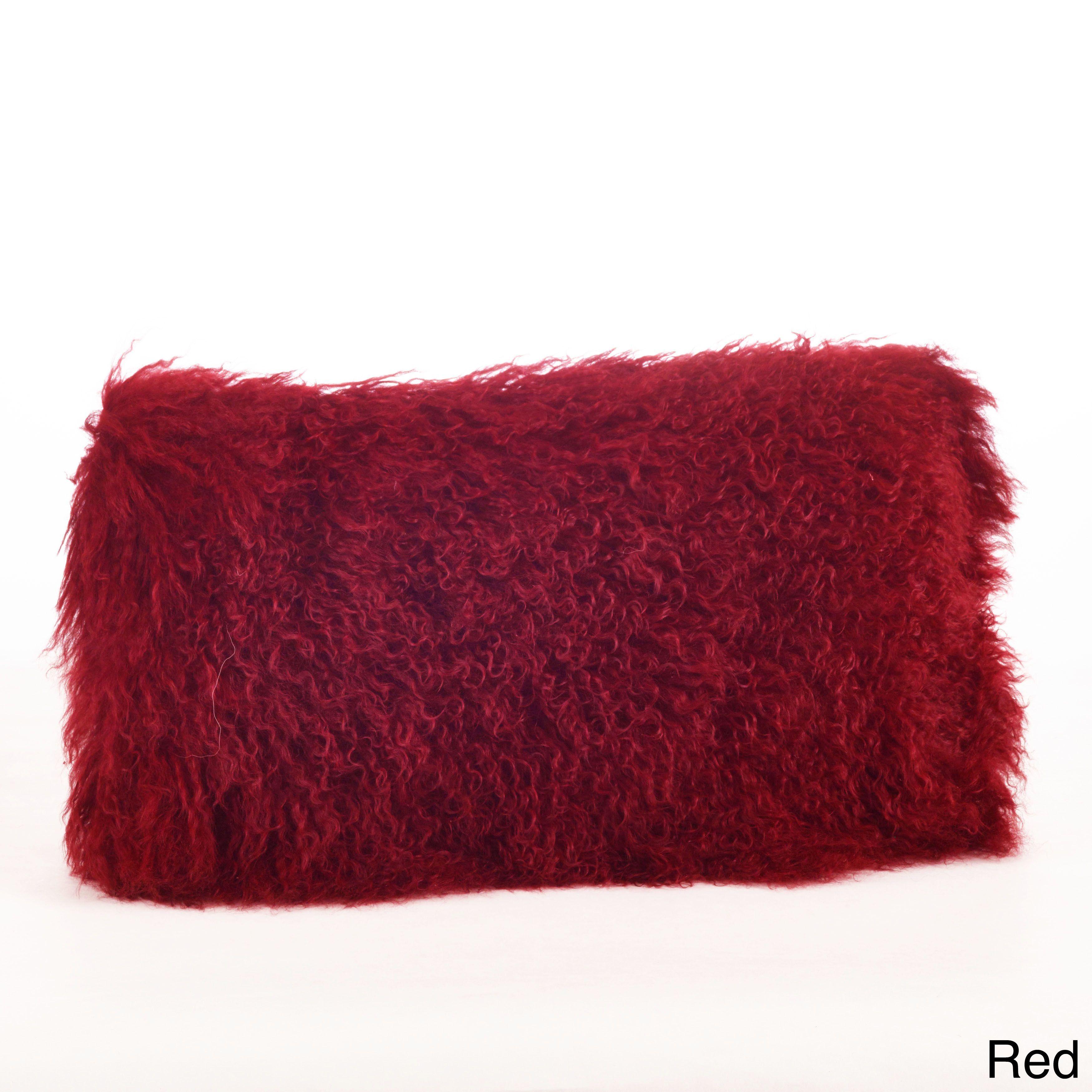 "Saro Mongolian Lamb Fur Throw Pillow 20"" x 20"" (Red) | faux fur ..."