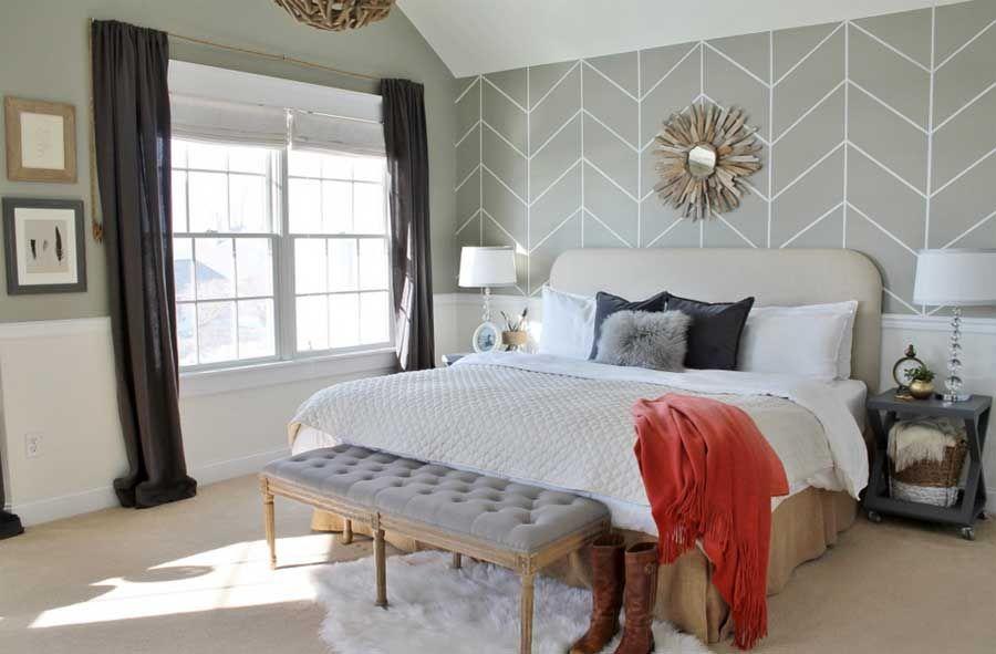 Tapeten Im Schlafzimmer Mit Geometrische Muster In Grau Farbe ...