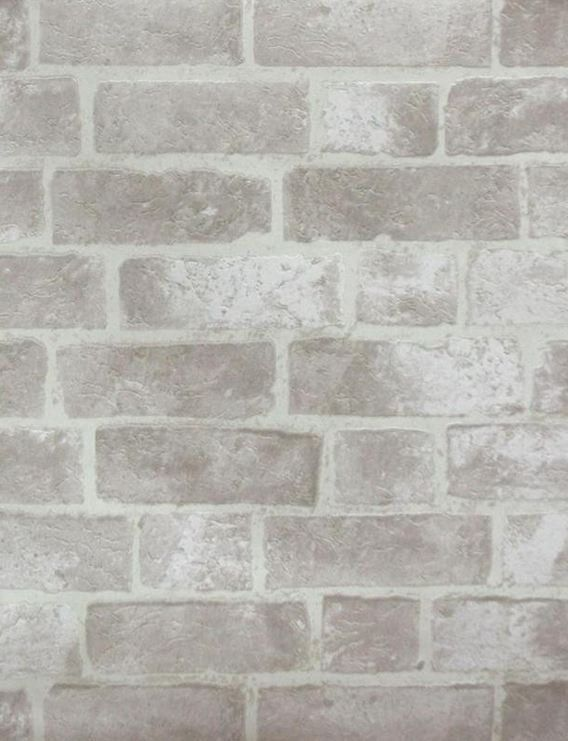Faux Distressed Gray Brick And Mortar Wall Off White Stone Bright Pale Grout Bricks Texture Wallpaper By The Yard He1045