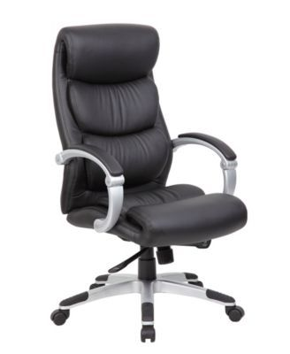 Boss Office Products Hinged Arm Executive Chair With Synchro Tilt Black Bonded Leather Chair Office Chair Executive Chair