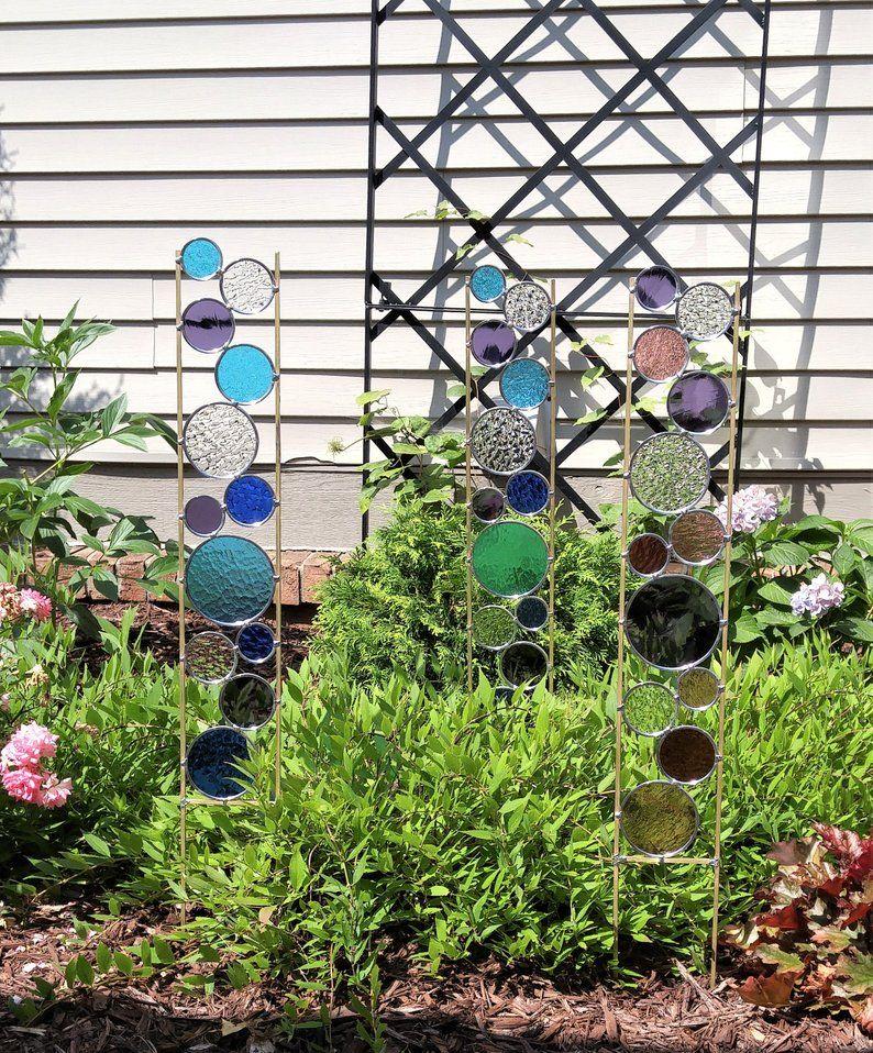 Tall metal suncatcher sculpture for garden decor Best gift idea for gardening lovers Glass garden art stake Great housewarming present.