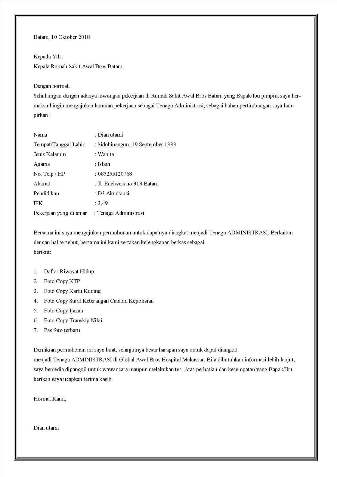 8+ Contoh Surat Lamaran Kerja di Rumah Sakit Paling