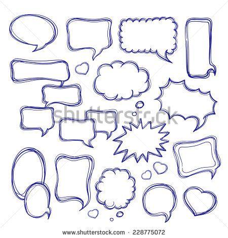 Speech bubbles doodles set