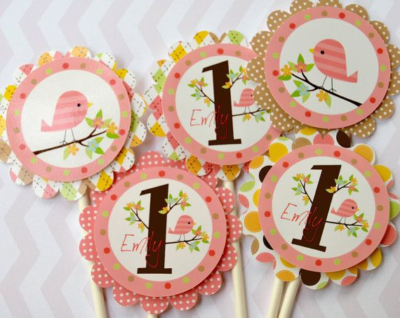 Bird, Cupcake Toppers - Set of 12 Personalized Birthday ...