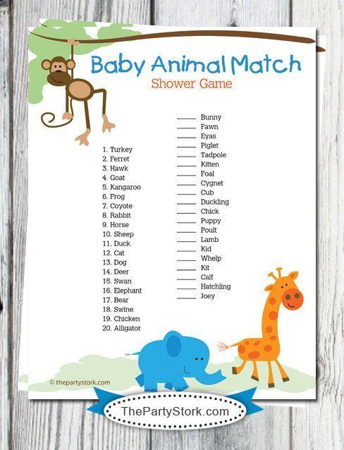 Safari Baby Shower Games Printable Baby Animal Match Game Monkey