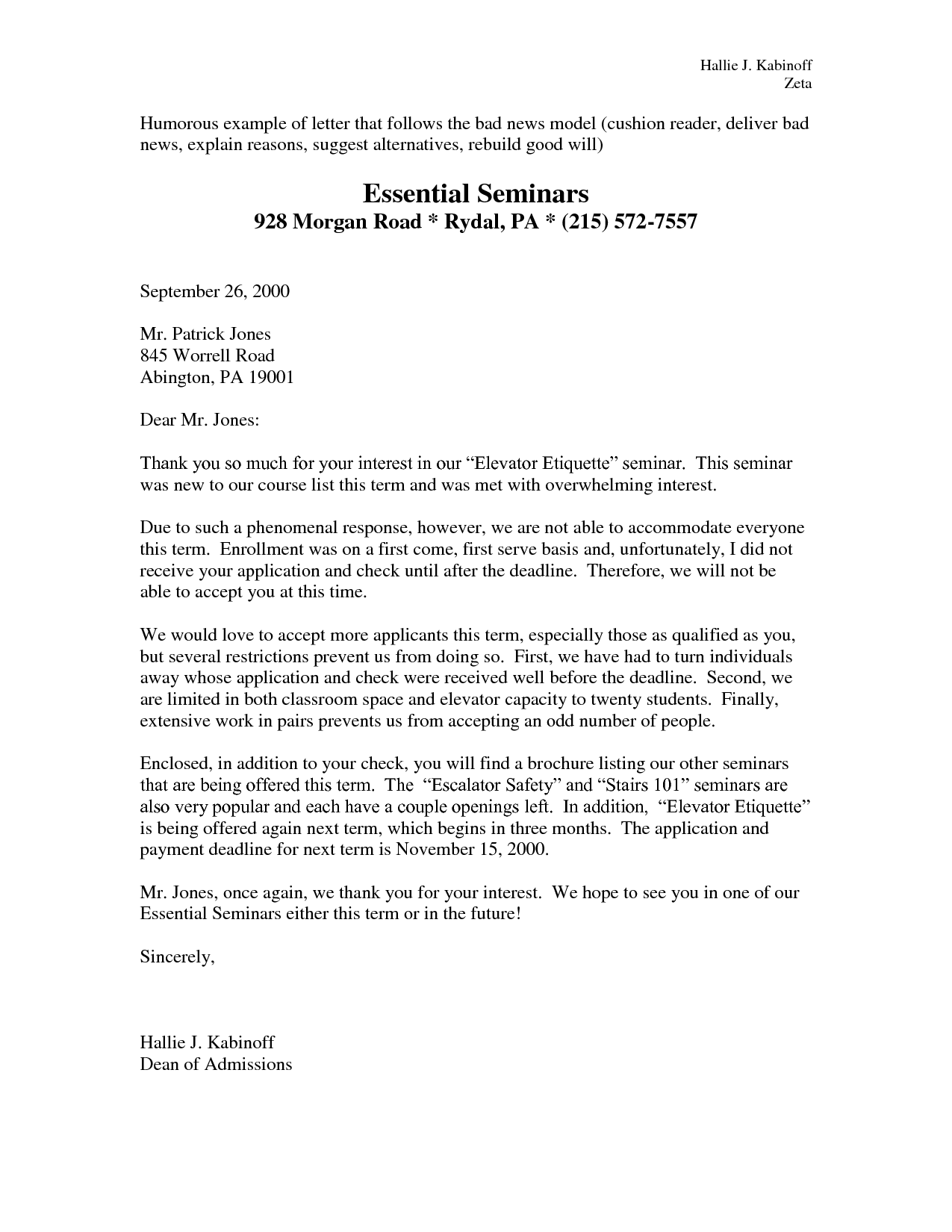 examples bad news business letter example | Business letter